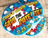 Wedding Save The Date Magnets Retro Comic Book Design (Complete With Organza Bags)