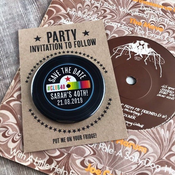 Birthday Party Save The Date Magnets Rainbow Vinyl Record