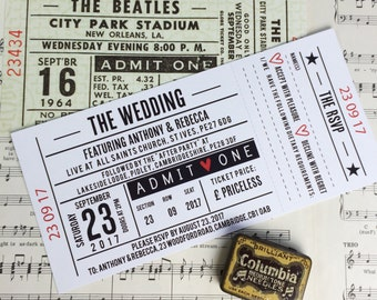Wedding/ Party Invitations - Gig/ Concert Ticket Design (Perforated)