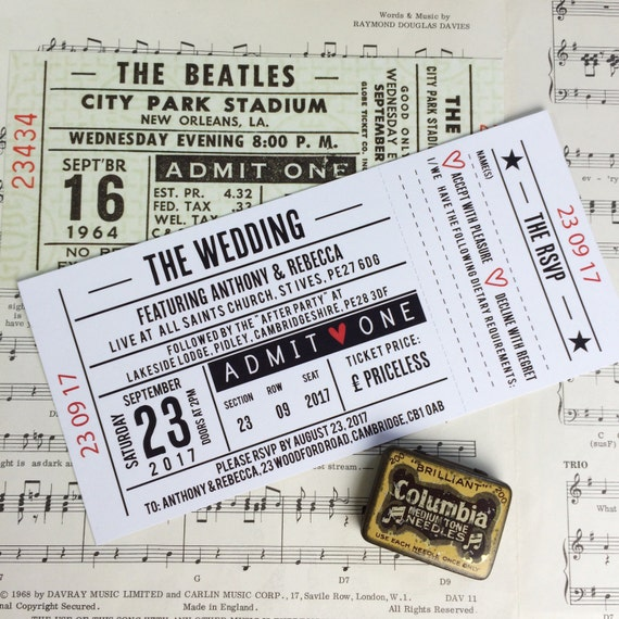 Wedding/ Party Invitations Gig/ Concert Ticket Design
