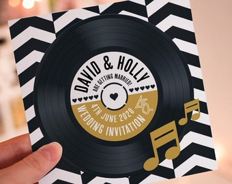 Wedding/ Party Invitations - Chevron Vinyl Record Design