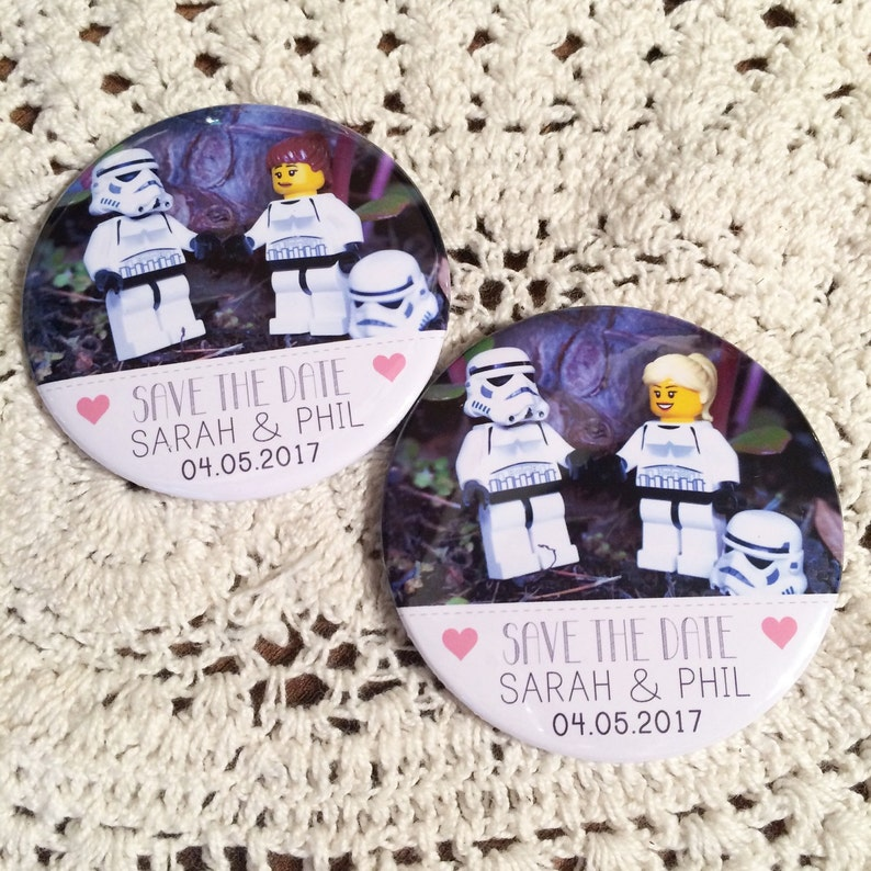 Wedding Save The Date Magnets Lego Star Wars Inspired Design Etsy