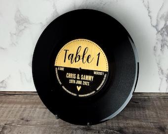 "REAL 7"" Vinyl Record Wedding Table Numbers/ Names - Metallic Gold label Vinyl Record Design"