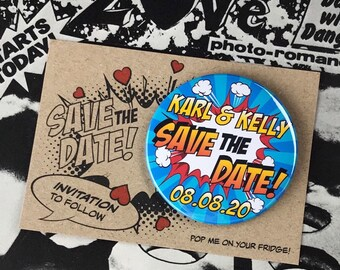 Wedding Save The Date Magnets - Comic Book Design Complete With Mini Backing Cards