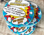 """Wedding Save The Date Magnets Comic Book Design """"Holy Matrimony"""" (Complete With Organza Bags)"""
