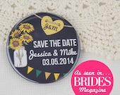 Wedding Save The Date Magnets Rustic Chalkboard Sunflower Design Complete With Organza Bags 59mm x 40 (As seen in Brides Magazine!)
