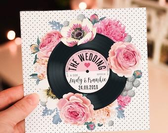 Wedding/ Party Invitations - Floral Vinyl Record Design (Pink)