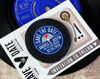 Wedding Save The Date Magnets - Vinyl Record Design Complete With Mini Turntable Inspired Backing Cards