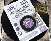 Wedding Vinyl Record Save The Date Magnets - Vinyl Record Design - Version 2 (Complete With Backing Postcards)