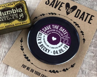 Wedding Save The Date Magnets - Vinyl Record Design Complete With Mini Backing Cards