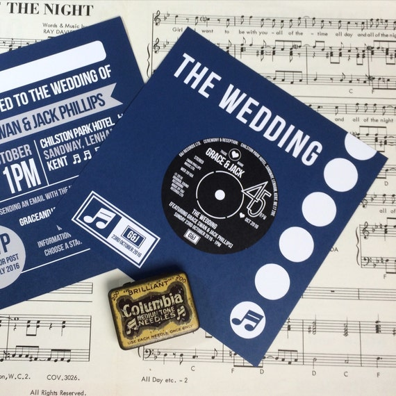 Record Wedding Invitations: Wedding/ Party Invitations Vinyl Record Design X 40
