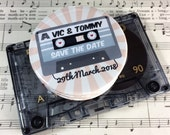 """Wedding Save The Date Magnets Retro Cassette """"Mix Tape"""" Design Complete With Organza Bags 59mm (Music Lovers)"""