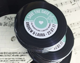 Wedding Vinyl Record Save The Date Magnets Vintage Vinyl Record Design Complete With Organza Bags 59mm (45rpm)