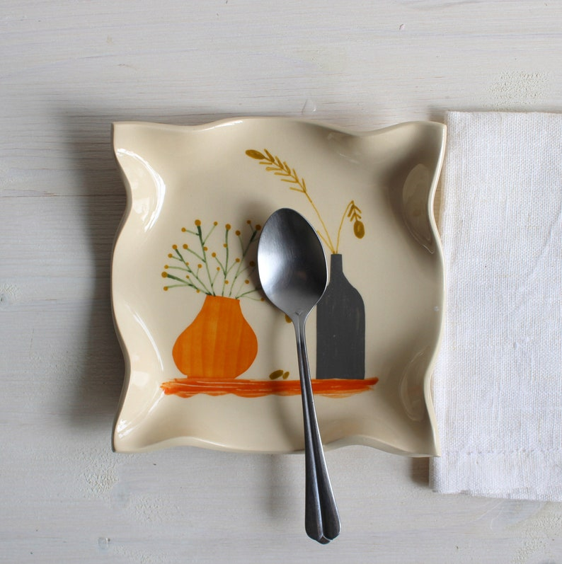 Jewelry dish Snack plate Colorful plate Jewelry storage Square spoon rest Still life plate Ceramic spoon rest Small plate Ceramics