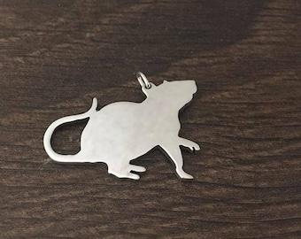 Rat saw pierced sterling silver pendant/ charm
