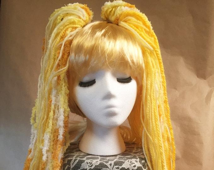 """Yarn 'Dread' Pair Hair Falls 20"""" Yellow"""