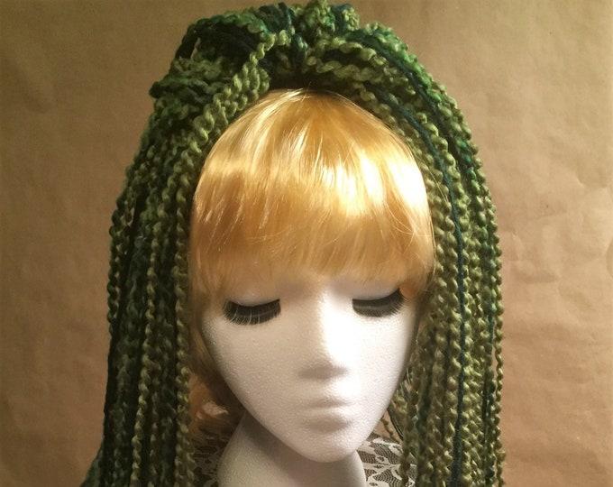 "Yarn 'Dread' Pair Hair Falls 20"" Green"