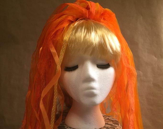 "Ribbon 'Dread' Pair Hair Falls 20"" Orange"
