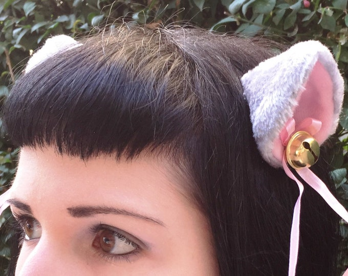 Clip on Cat Fox Ears with Bells and Ribbon Bows in Grey