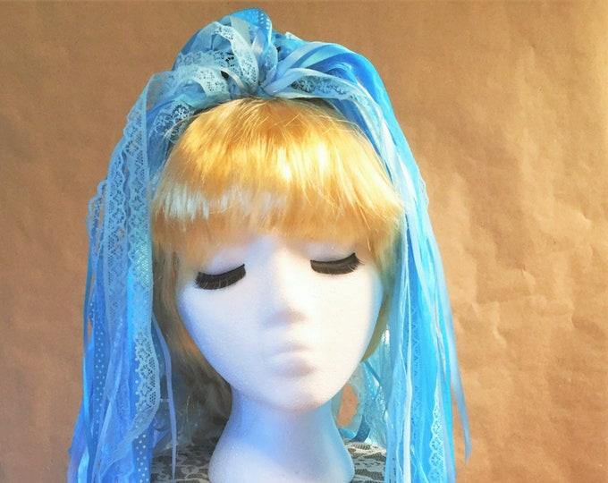 """Ribbon 'Dread' Pair Hair Falls 20"""" Sky Blue"""