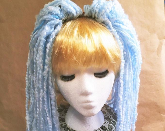 """Yarn 'Dread' Pair Hair Falls 20"""" Sky Blue"""