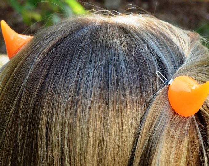 Horns Clip Teeth or Snap Style Barrette 1 pair In Orange