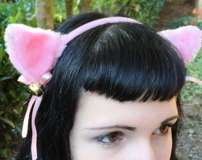 Ear Headband Cat Fox with Bells and Ribbon Bows in Pink