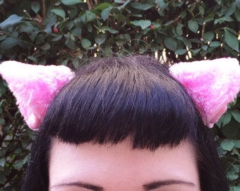 Clip on Cat Fox Ears One Pair in Pink