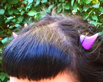 Horns Clip Teeth or Snap Style Barrette 1 pair in Purple