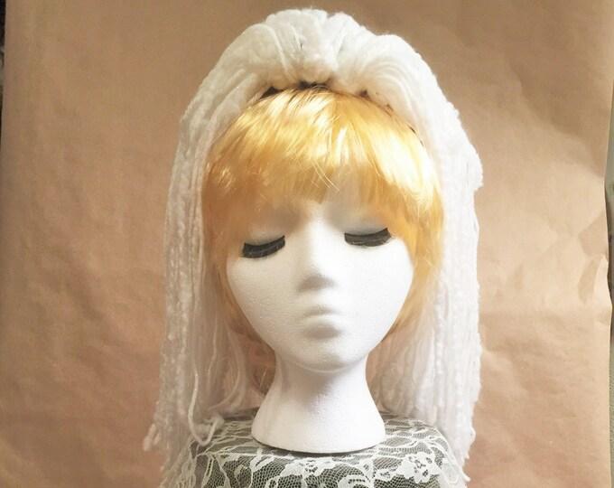 """Yarn 'Dread' Pair (2) Hair Falls 20"""" White"""
