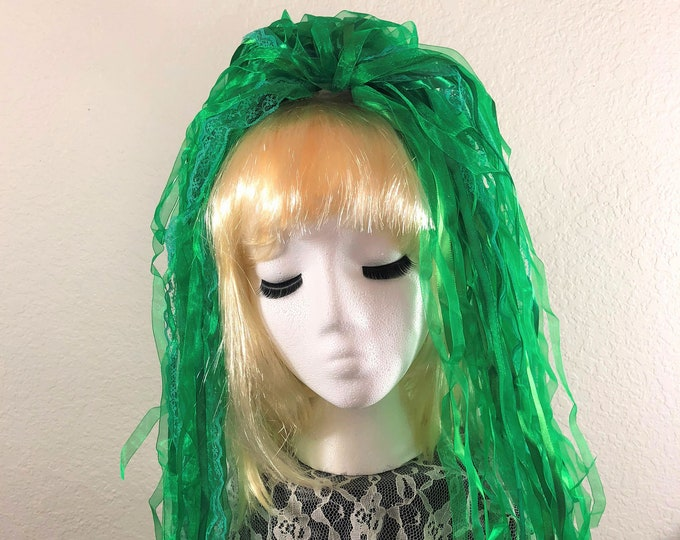 "Ribbon 'Dread' Pair Hair Falls 20"" Green"