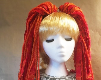 "Yarn 'Dread' Pair Hair Falls 20"" Orange"