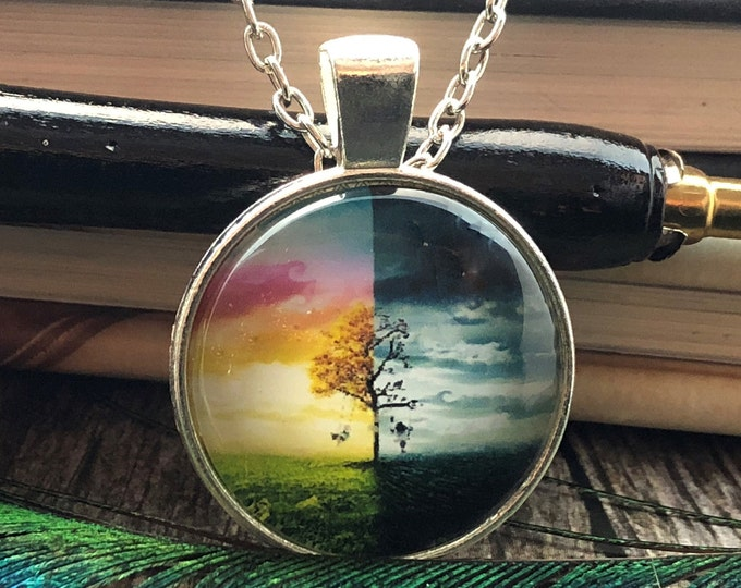 Tree of Life Night & Day Drawing set in Silver Dome Glass Pendant with Chain Necklace