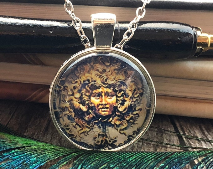 The Green Man Drawing set in Silver Dome Glass Pendant with Chain Necklace