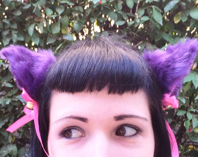Clip on Cat Fox Ears with Bells and Ribbon Bows in Purple