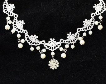White Lace Choker with Rhinestone Flower Pendant and Pearl Beads