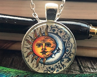 Sun and Moon Filigree with Stars Drawing set in Silver Dome Glass Pendant with Chain Necklace