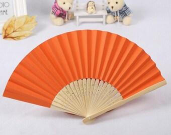 Orange Paper Carved Sandalwood Folding Hand Fan