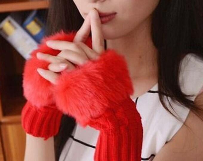 Yarn & Fur Fingerless Gloves in Red
