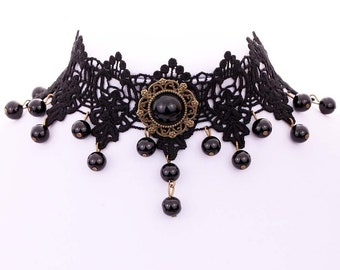 Black Lace Choker Necklace Round Pendant with Dangling Beads
