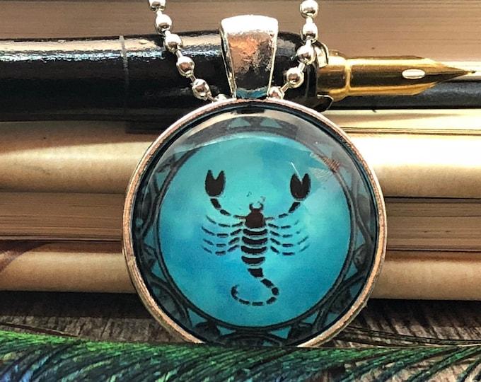 Zodiac Scorpio Scorpion Drawing set in Silver Dome Glass Pendant with Chain Necklace
