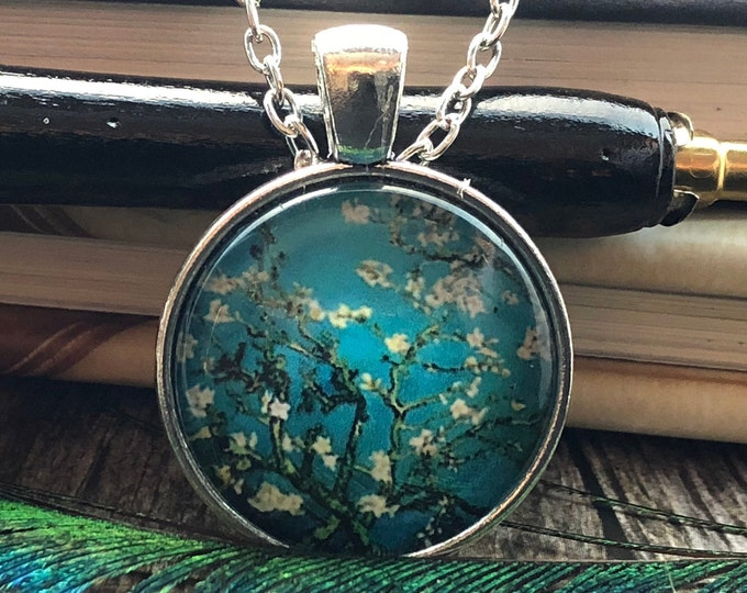 Cherry Blossom Branch over Blue Sky set in Silver Dome Glass Pendant with Chain Necklace