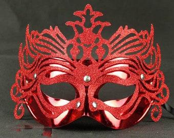 "Red 'Sun King"" Lace Filigree Masquerade Mask"