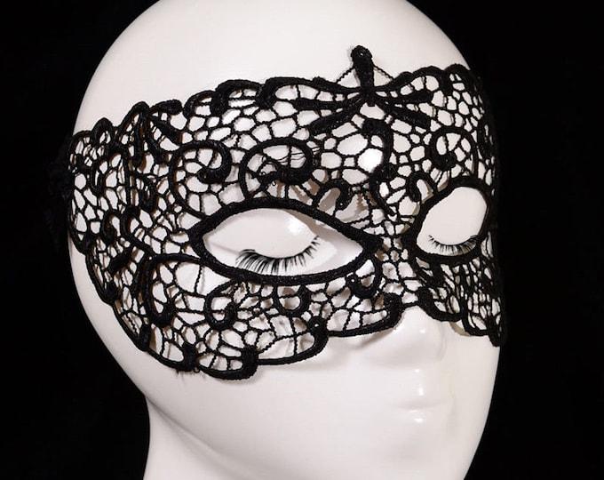 Lace 'Dragonfly' Black Filigree Masquerade Mask