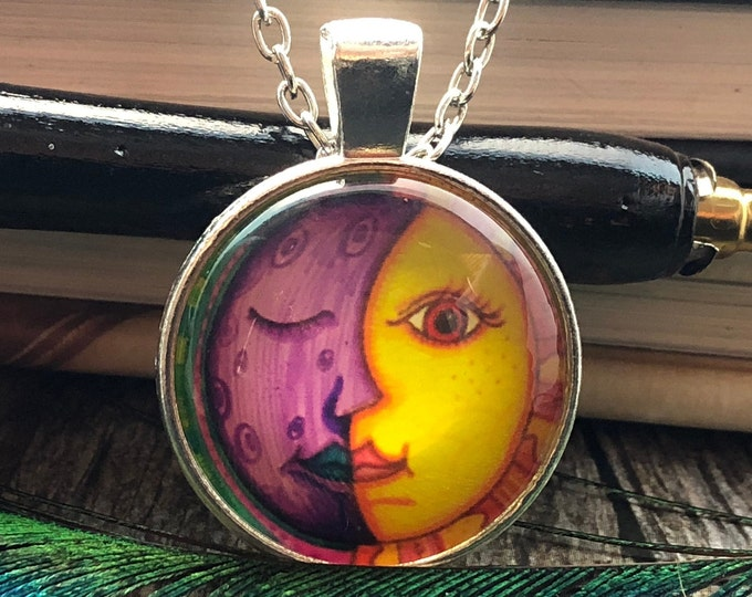 Sun and Moon Drawing set in Silver Dome Glass Pendant with Chain Necklace