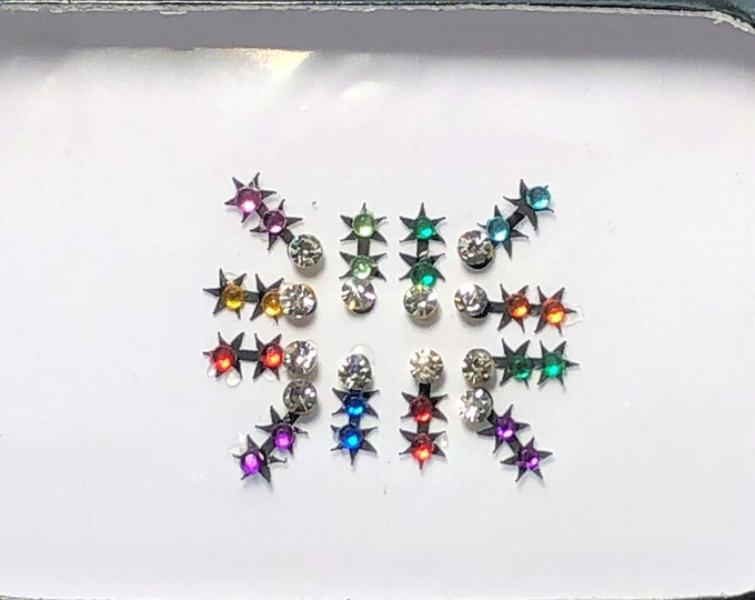 Bindi Body Stickers Multi-color Crystal Temporary Tattoo One (1) Pack As Pictured #29