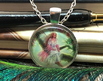Fairy sitting on Tree Branch set in Silver Dome Glass Pendant with Chain Necklace