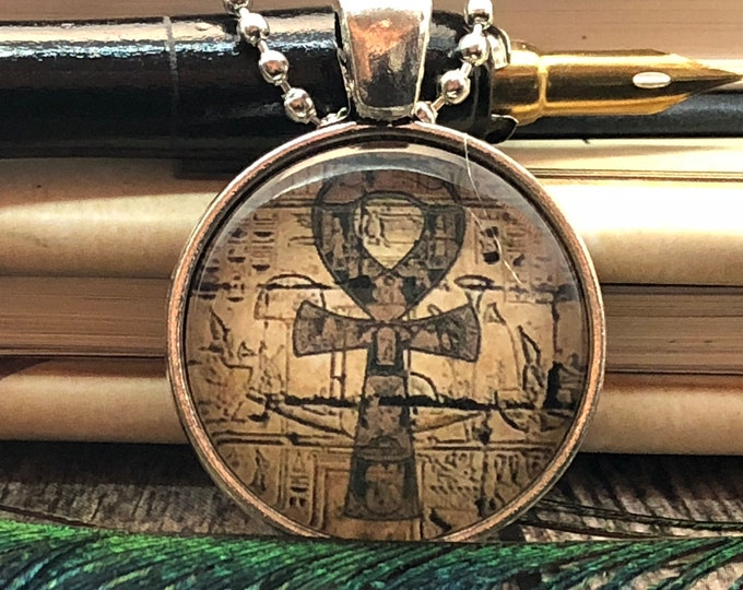 Ancient Ankh Egyptian set in Silver Dome Glass Pendant with Beaded Chain Necklace