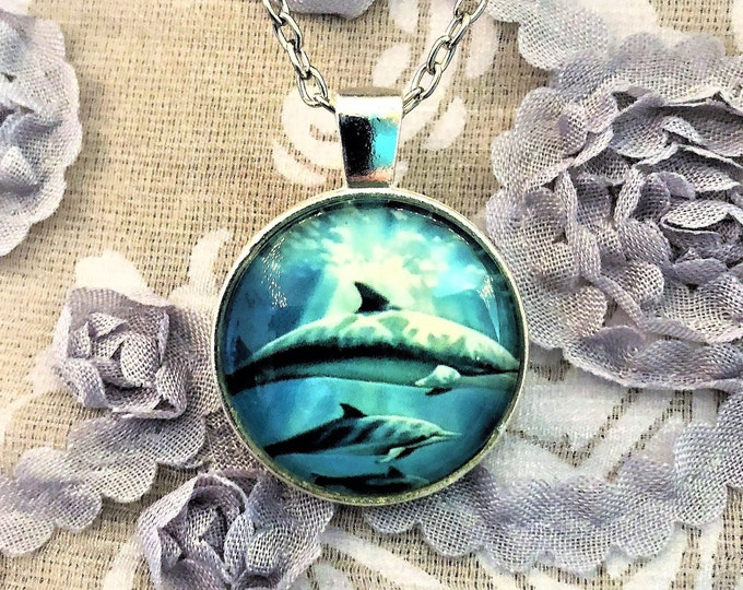 Dolphin with Baby Kiss Swimming in Ocean Silver Dome Glass Pendant with Chain Necklace