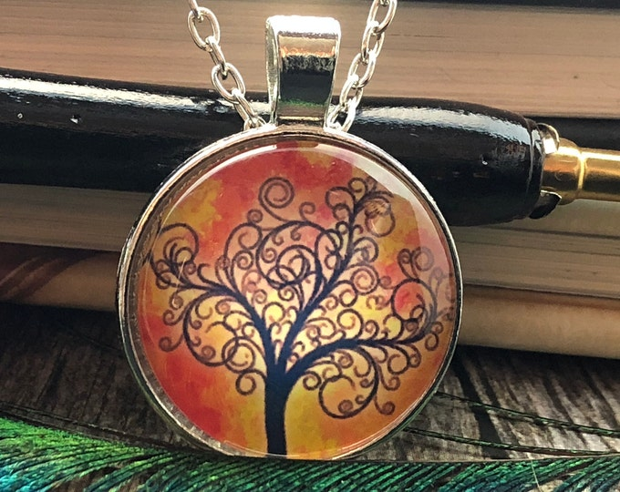 Tree of Life Filigree over Sun Rise Drawing set in Silver Dome Glass Pendant with Chain Necklace